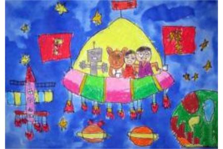 十一国庆节儿童画-国庆太空行