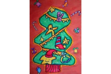 儿童画来自星星的圣诞树