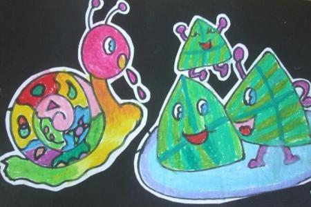 粽子和蜗牛关于端午节的粘贴画图片展示