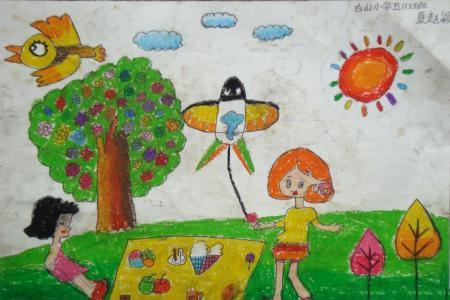 儿童画春天的图片-我和妈妈去野炊