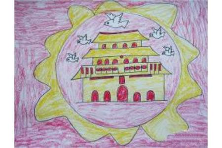 欢度十一儿童画-放飞希望