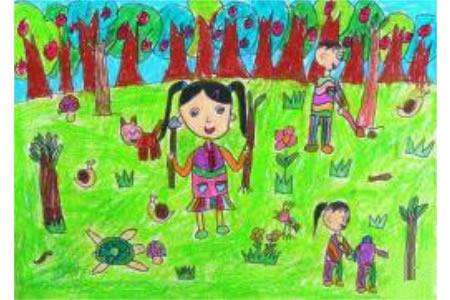 令人快乐的植树节儿童画植树节图片赏析