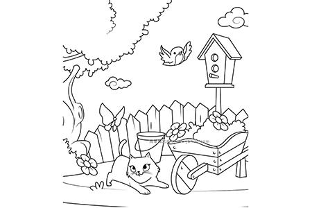 小猫在院子里抓蝴蝶