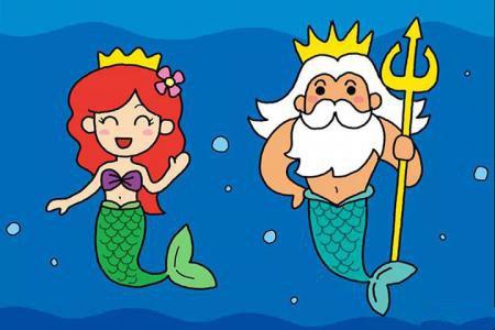 画美人鱼公主和人鱼国王