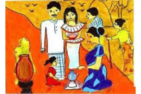 国外儿童获奖绘画作品-新年传统
