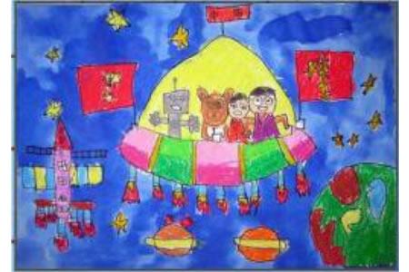 庆祝国庆节儿童画-十月星际航班