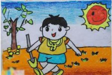 劳动节儿童画 种树
