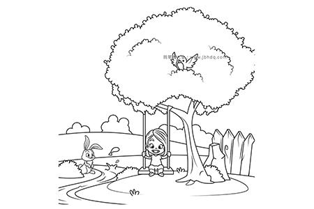 小女孩在大树底下荡秋千