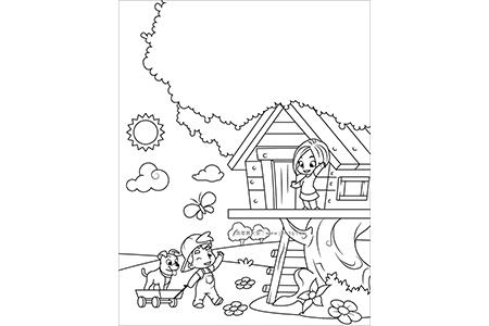 男孩和女孩在树屋玩耍