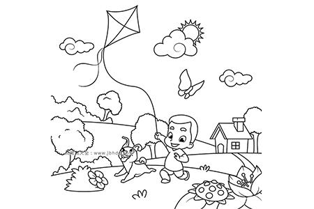 小男孩带着小狗放风筝