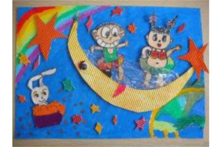 中秋节题材儿童画大全-到月亮上去学游泳