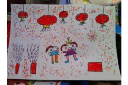 儿童画 热闹的烟花