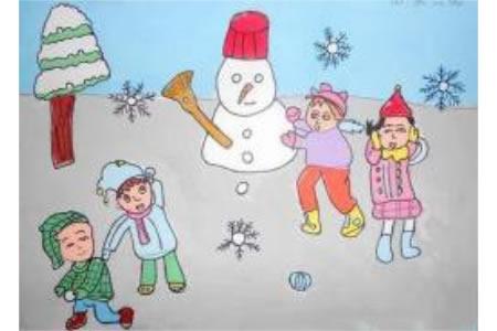 小朋友冬季堆雪人儿童画图片