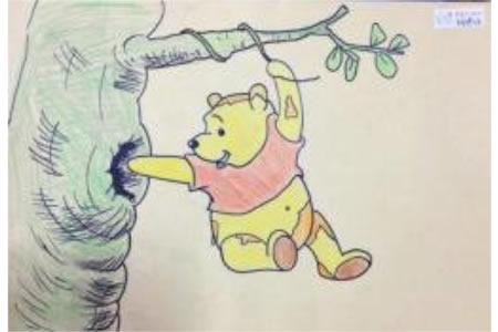 维尼偷蜜吃儿童画画作品