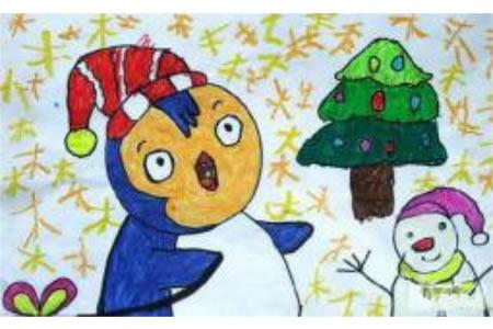 圣诞节儿童画 南极的圣诞节