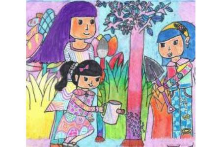 春天来了儿童画图片-春天是植树的季节