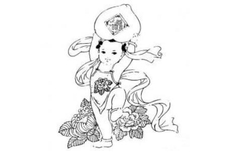 儿童学画的年画娃娃简笔画