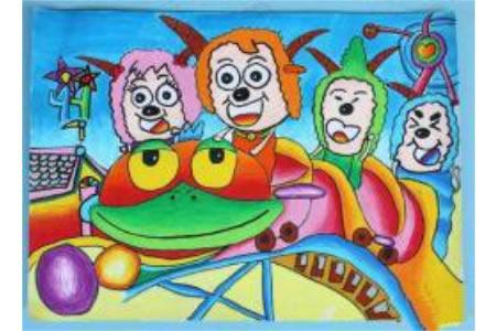 儿童画羊羊欢乐过大年