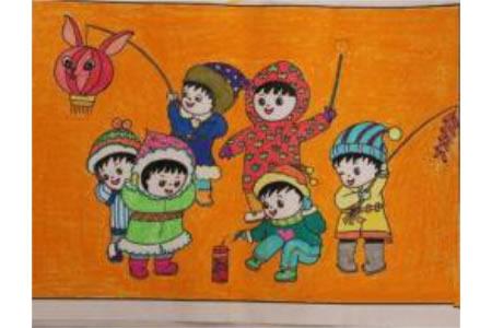 儿童画大家一起闹新年