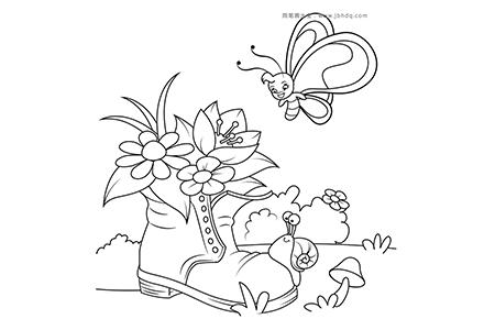 花园里的旧鞋子、蝴蝶和蜗牛
