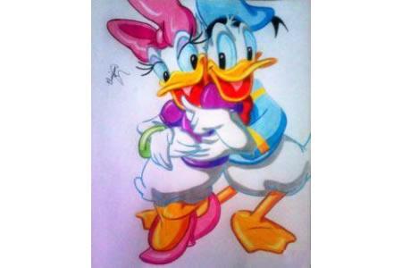 唐老鸭和黛丝卡通人物画画图片欣赏