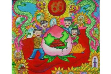 欢庆国庆节儿童画作品欣赏-祖国生日快乐