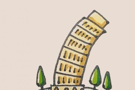 简笔画之比萨斜塔