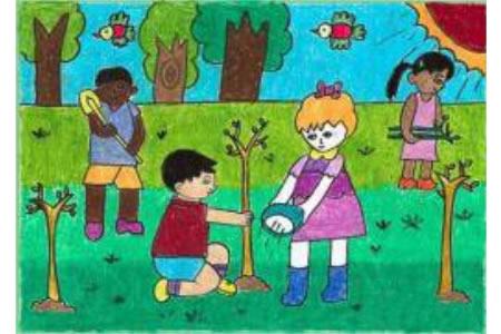 关于植树节的儿童画-齐心协力来植树
