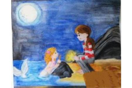 遇见一只美人鱼水彩儿童画优秀作品展示