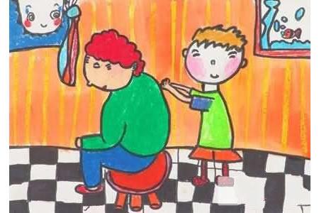 感恩节儿童画图片-妈妈,我给您捶捶背