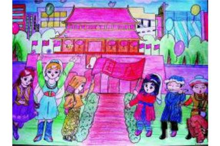 欢度国庆儿童画画作品