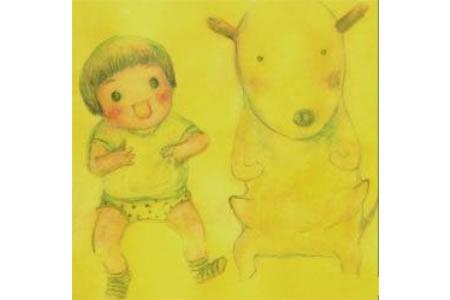 中秋节赏月儿童画-我和小狗赏月