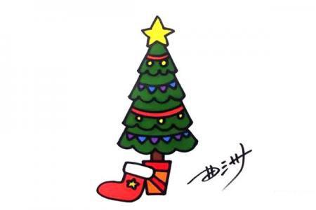 学画圣诞树