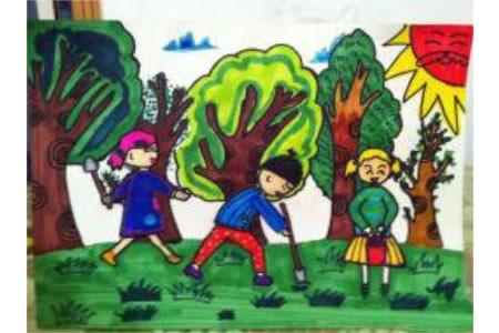 植树节儿童画大全-欢乐的种树