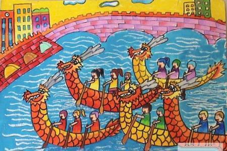 我们赛龙舟水彩画图片大全