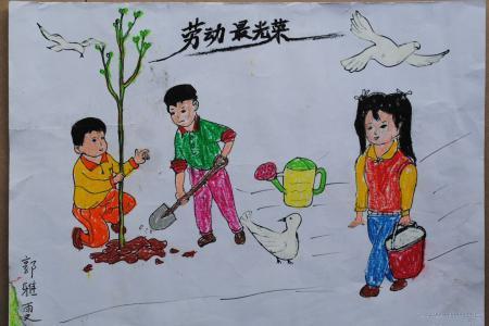 劳动节儿童画-劳动最光荣