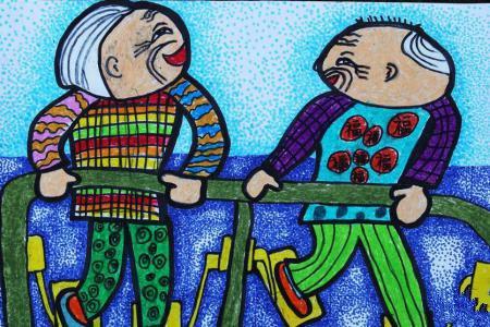 重阳节尊老爱老儿童画-锻炼的老人