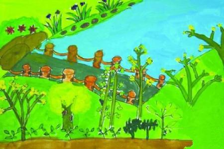 儿画画幼儿春天画画作品-世界的绿色