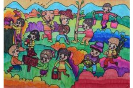 一群种树的小学生植树节主题画教师范画