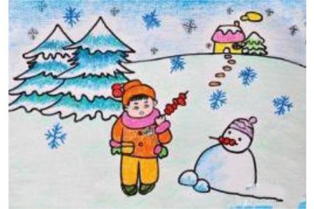 小学儿童蜡笔画获奖作品:冬天里的雪人