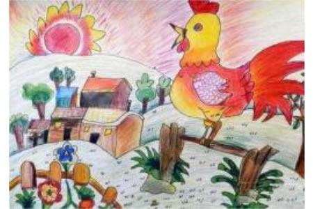 鸡年画鸡儿童画作品