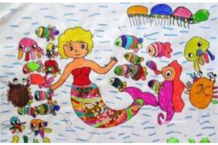 儿童画美人鱼