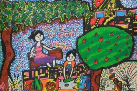 端午节吃粽子儿童画-学包粽子