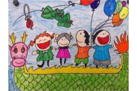 端午节儿童画 开心的端午