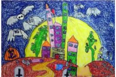 万圣节儿童画图片-万圣节之夜