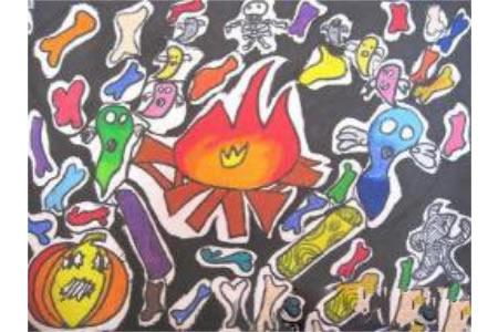万圣节儿童画图片-万圣之夜篝火晚会