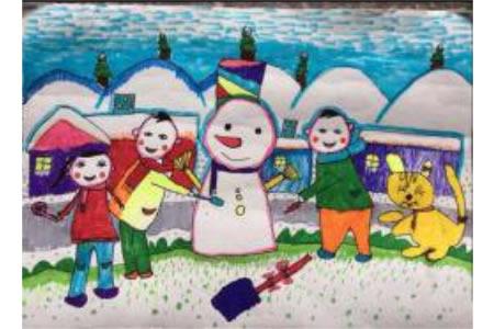 冬天为主题的儿童画-兴奋堆雪人