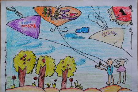 五一劳动节儿童画-劳动节放风筝