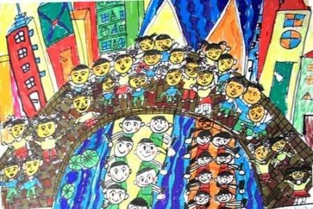 少儿端午节儿童画画图片:赛龙舟