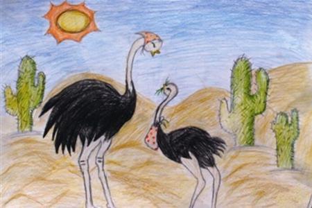 鸵鸟母子俩初中生母亲节的画分享